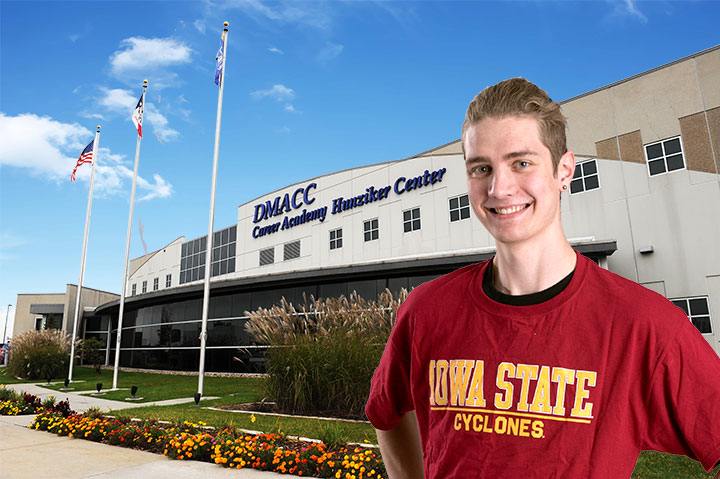 Iowa State Student in front of DMACC Ames Center