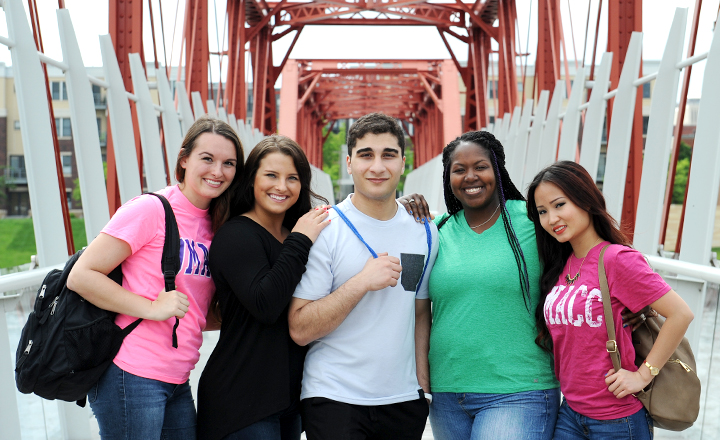 DMACC Students on Bridge Smiling