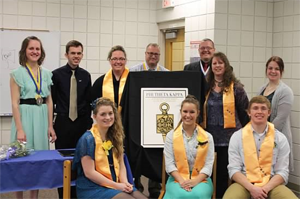 Spring 2014 Inductees and Beta Theta Xi officers.