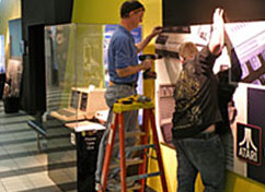 Setting up the Celebrate Innovation exhibits