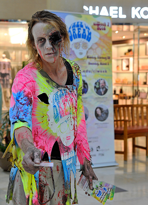 A zombie promoting ciWeek at Jordan Creek Mall