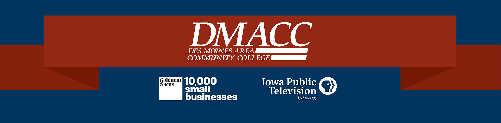 DMACC logo, Goldman Sachs logo 10,000 small businesses IPTV logo, IPTV.org