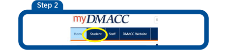 Screen 1 - myDMACC login. Log in with DMACC username and Password