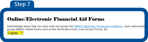 Online Electronic Financial Aid Forms Screen