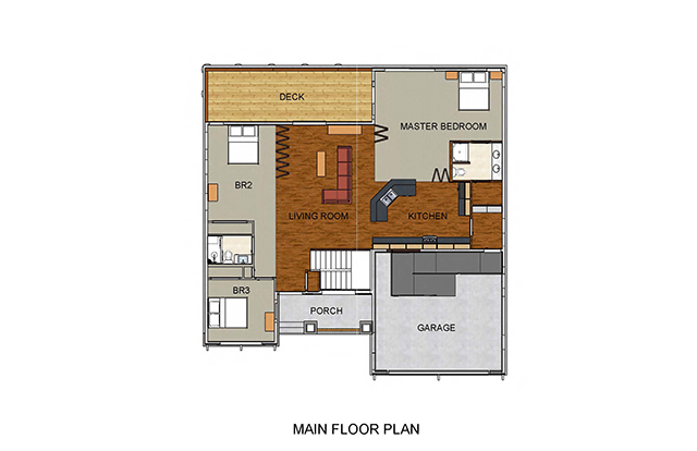 Main Floor Plan shows Kitchen, Living Room, 3 bedrooms, two bathroomsporch, deck and garage