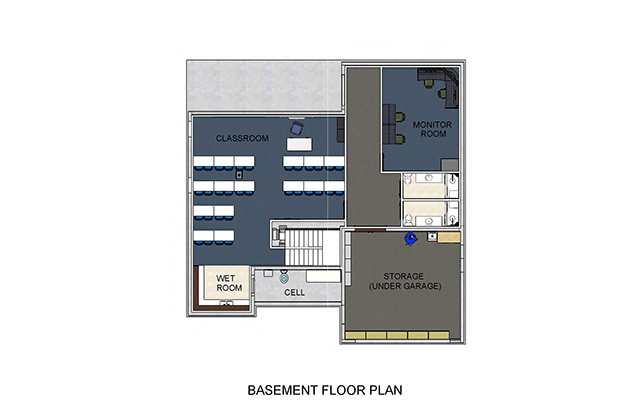 Basement floorplan shows classroom, cell , WET room, Monitor Room, two bathrooms and storage under garage