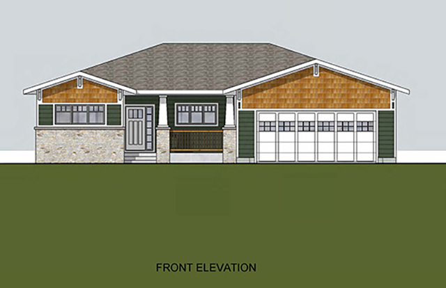 Front Elevation shows a front view of the one story house with front door, two car garage door and two sets of windows