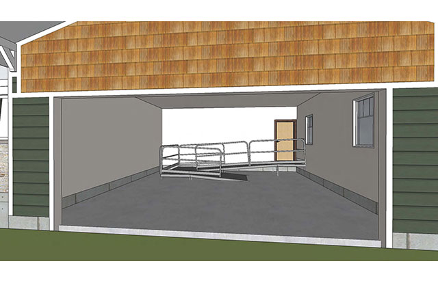 Garage shows with door open, and accessible ramp from door into house down to garage elevation