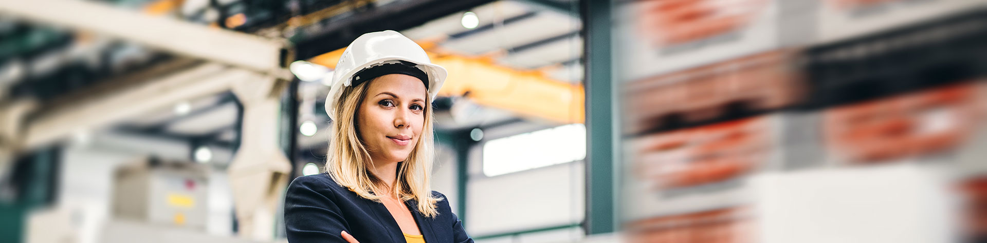 Woman in industrial setting