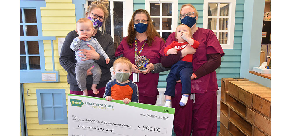 The DMACC Child Development Center in Ankeny was announced the winner of the 2021 Healthiest State Large Early Care Award.
