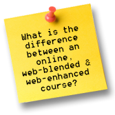 What is the difference between online, web-blended and web-enhanced course?