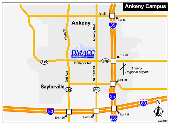 Map of DMACC Ankeny campus