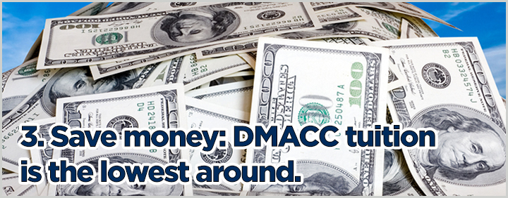 3. Save money: DMACC tuition is the lowest around.