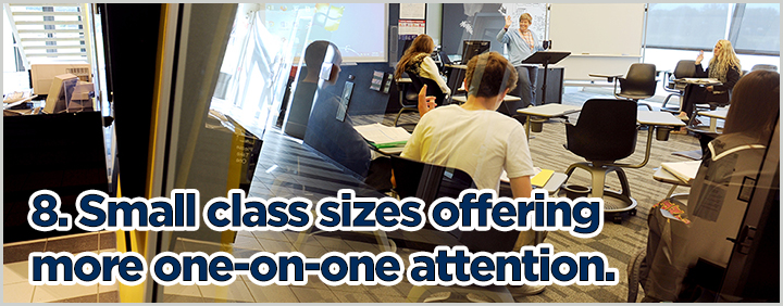 8. Small class sizes offering more one-on-one attention.