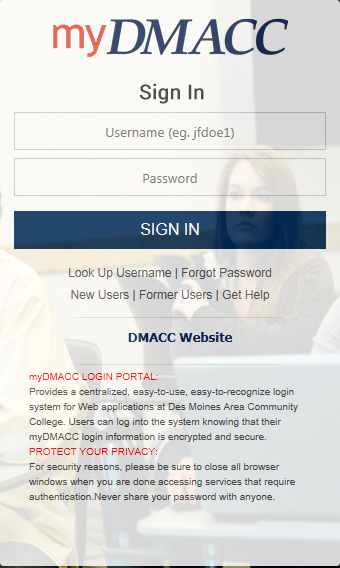 myDMACC Sign In page which includes username and password example