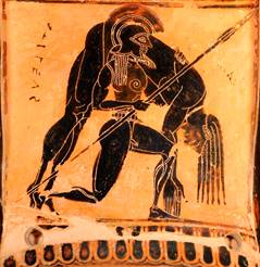Gladiator with spear holding another gladiator