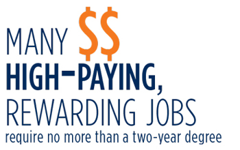 Many High-Paying Rewarding Jobs require no more than a two-year degree